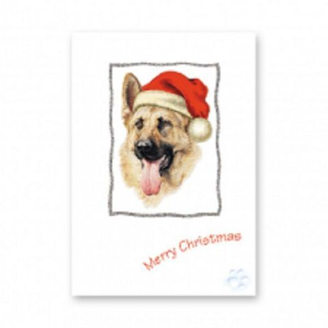 ALSATION CHRISTMAS GREETINGS CARD GLITTER PACK OF FIVE